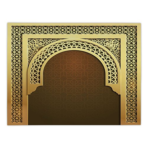 iPrint Rectangular Satin Tablecloth,Moroccan,Middle Eastern Ramadan Greeting Scroll Arch Figure Celebration Holy Eid Theme,Golden Brown,Dining Room Kitchen Table Cloth Cover by iPrint