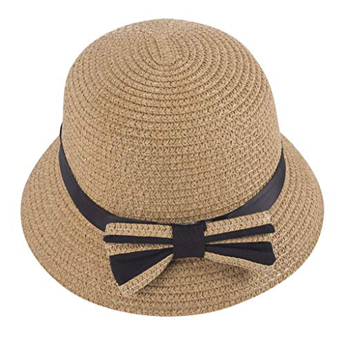 Sanyyanlsy 3-5 Year-Old Child Fisherman Hat Bow Knot Straw Hat Sunscreen Wind Lanyard Cap Summer Sun Protection Kid Hat Brown