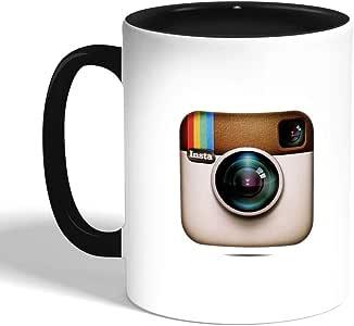 كوب سيراميك للقهوة بتصميم شعار انستجرام ، اسود