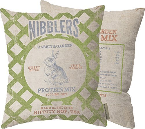 Primitives By Kathy Nibblers Rabbit and Garden Protein Mix Pillow 14