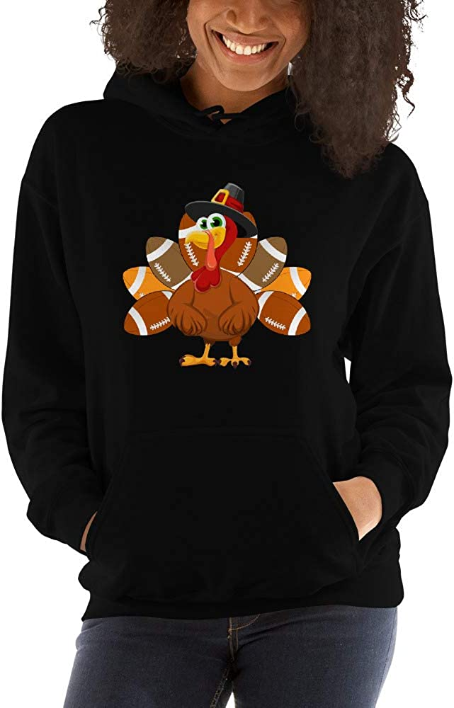 TEEPOMY Cute Football Turkey Thanksgiving Unisex Hoodie