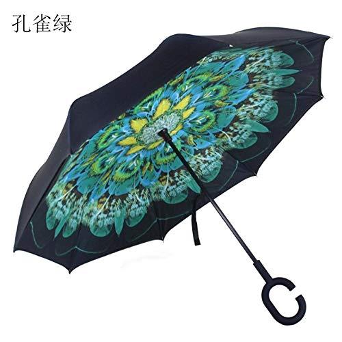 GGJYW Long Handle Reverse Umbrella Double c-Type Umbrella can Stand Cartoon Free car Umbrella, Malachite Green (107 cm Diameter Under The Umbrella)