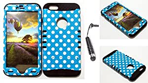 CellTx Shockproof Hybrid Case For Apple (iPhone 6 Plus) and Stylus Pen, Black Soft Rubber Skin with Hard Cover (Polka Dots, Blue, White) AT&T, T-Mobile, Sprint, Verizon, Boost Mobile, U.S Cellular, Cricket by runtopwell