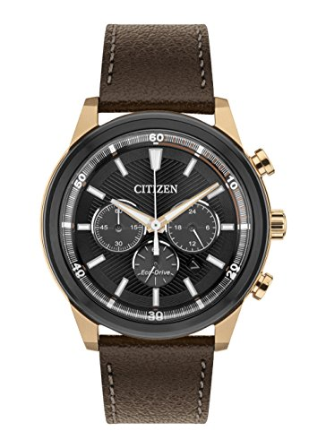 Citizen Watch Men's Solar Powered with Black Dial Analogue Display and Brown Leather Strap CA4346-06H Citizen Eco Drive Chronograph Gents Watch