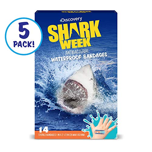 Discovery Shark Week Kids Bandages, 70 ct   100% Waterproof, Antibacterial Bandages for Use on Minor Cuts, Scrapes, ()