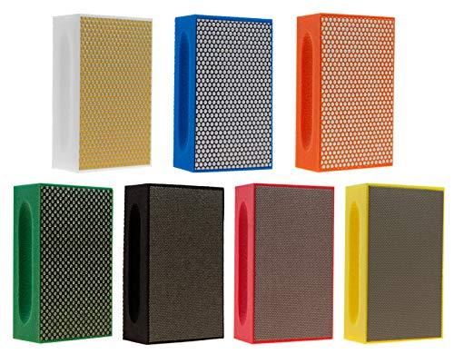 KGS PRO-PAD Diamond Hand Polishing pads (7 Pack, Combination set (grit 60, 120, 200, 400, 500, 1500, (Best Diamond Abrasive Pads)