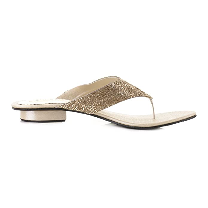 Womens Low Heel Sparkly Micro Diamante Toe Post Party Sandals Shoes SIZE 4:  Amazon.co.uk: Shoes & Bags