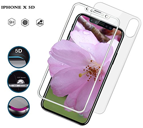 iPhone X Front and Back Screen Protector Full Cover Corning Gorilla Tempered Glass Screen Guard 5D Ultra Thin Handy Display for iPhone X White ()