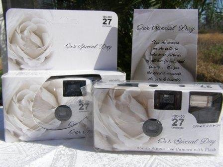 10 Pack Soft White Rose Wedding Disposable 35mm Cameras In Matching Gift Boxes- 27 Exposures Each- With Matching Table Tents by The Camera Depot