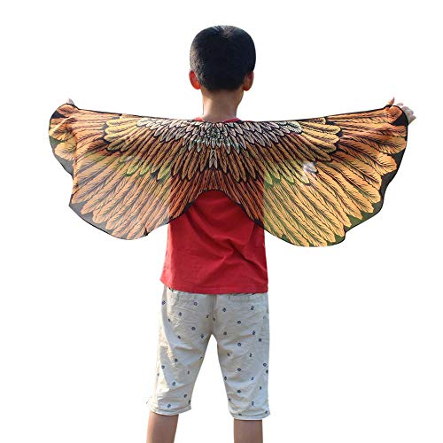 POQOQ Inspired Black Feather Wing - Fallen Angel Halloween Costume Angel Wings - Large Halloween Cosplay Feather Wing 11848CM Orange ()