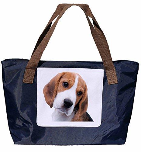 Shopper /Schultertasche / Einkaufstasche / Tragetasche / Umhängetasche aus Nylon in Navyblau - Größe 43x33cm - Motiv: Beagle Porträt - 03