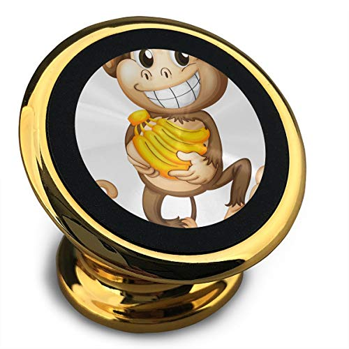 Qinf Monkey with Banana Universal Yellow Smartphone Car Mount Holder Cradle for iPhone Xs Max R X 8 Plus 7 Plus 6S Samsung Galaxy S9 S8 Edge S7 S6 LG Sony and More ()