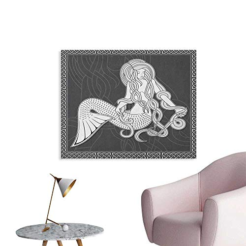 Anzhutwelve Mermaid Wallpaper Retro Art Illustration of a Mermaid Brushing Hair and Border with Celtic Patterns Cool Poster Brown White W36 xL24
