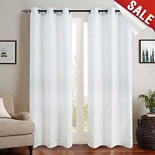 Jacquard Curtains for Living Room 63 inch Length Trellis Geometric Pattern White Light Filtering Window Curtains for Bedroom Privacy Opaque Window Treatment Set, Grommet Top, 2 Panels ()