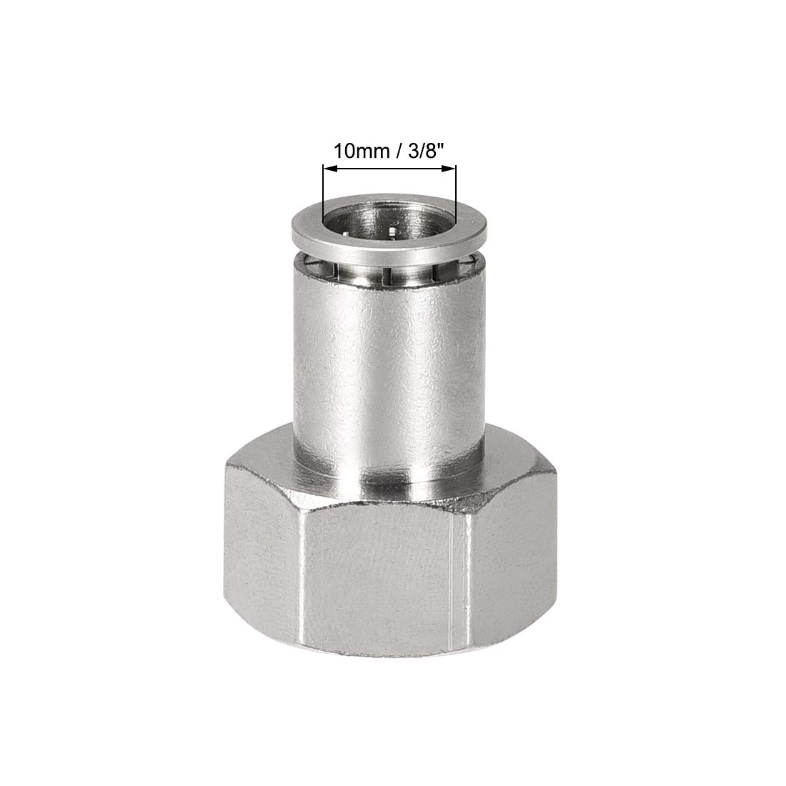 uxcell Push to Connect Tube Fittings 10mm Tube OD x 1//2 PT Female Straight Pneumatic Connecter Pipe Fitting Silver Tone