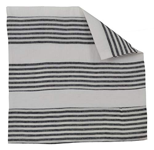 - Luxury French Farmhouse Linen Damask White and Black Striped 24x24 Large Square Pillow Cover Shams Ticking Small Thin Pin Stripe Sofa Throw Accent Decorative Couch Reversible Covers Case
