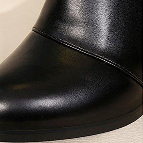 para Chunky vestimenta Calf Moda Confort HSXZ mujer de Mid botas botas negro invierno casual PU botas Zapatos talón puntera Black redonda a6Ta1xqwz