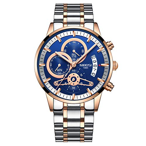 Mens Luxury Watches Chronograph Water Resistant Fashion Business Sports Quartz Wristwatch with Stainless Steel Rose Gold Blue Watch for Men