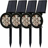 LED Solar Pathway Landscape Lights Lawn Colorful Landscape lighting Spotlights For Tree Wall In-Ground Garden Outdoor Night Waterproof IP65 Security Path Uplight Patio Yard Driveway Floodlight 4 PACK
