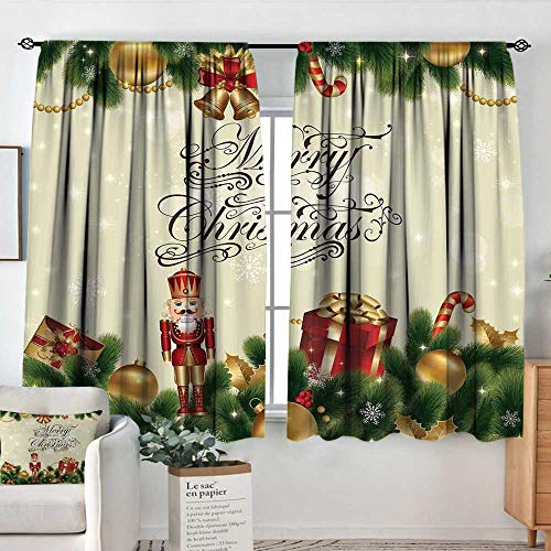 (Elliot Dorothy Decor Waterproof Window Curtain Christmas,Noel Ornaments with Birch Branch Cute Ribbons Bells Candy Canes Art Image,Golden Red Green,Darkening and Thermal Insulating Draperies 63