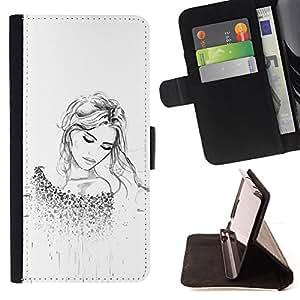 Planetar® Modelo colorido cuero carpeta tirón caso cubierta piel Holster Funda protección Para HTC One A9 ( De manera rubio tatuaje blanco limpio )