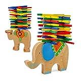 Berry President(TM Set of 2: Elephant Camel Stacking Balance Wood Camel Colorful Sticks Child Hands-On Puzzle Game Parent-Child Toys