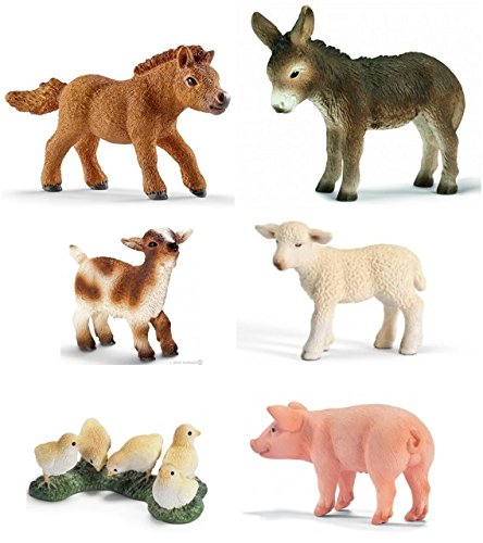 Schleich Small Animal Farm Life Set: Baby Farm with Chicks, Falabella Foal, Piglet, Lamb, Donkey Foal and Goat Kid