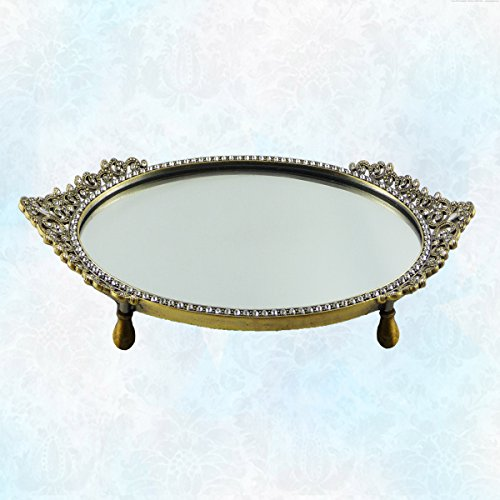 - Vintage Gold Tone Vanity Mirror Tray with Oval Beautiful Asian Design Genuine Crystal Embellished Border. Alluring Design