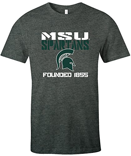 NCAA Michigan State Spartans Est Stack Jersey Short Sleeve T-Shirt, Deep Heather,X-Large