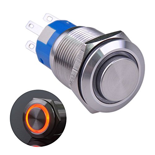 Ulincos Latching Pushbutton Switch U19C2 1NO1NC SPDT ON/Off Silver Stainless Steel Shell with Red LED Ring Suitable for 19mm 3/4 Mounting Hole (Red)