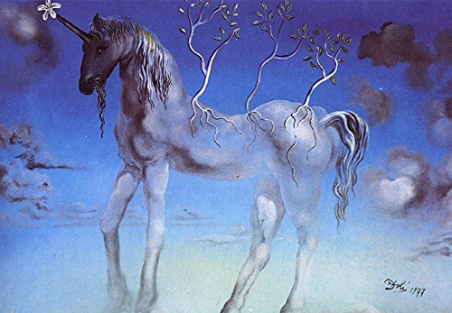 Startonight Mural Wall Art Photo Decor Salvador Dali Unicorn Large 8-feet 4-inch By 12-feet Wall Mural for Living Room or Bedroom