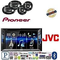 JVC KW-V130BT Double DIN Bluetooth In-Dash DVD/CD/AM/FM Car Stereo w/ 6.2 Clear Resistive Touchscreen W/ PIONEER TS-695P 3-WAY 230 WATT SPEAKER SET+ PIONEER TS-165P 2-WAY 200 WATT SPEAKER SET