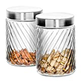 Klikel Glass Canister | Set of 2 Kitchen Containers With Lids | Tight Seal For Flour Sugar Pasta Cereal | Capacity 24oz / 700ml 4 1/4 Inch Diam X 4 1/2 Inch High