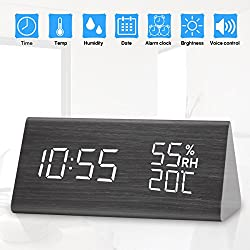 Digital Alarm Clock, Dual Time (12/24) Mode, Wooden LED Alarm Clocks with Triple Alarms,3 Levels Brightness Temperature & Humidity Wood Grain Alarm Clock Ideal for Bedrooms,Office (Gray)