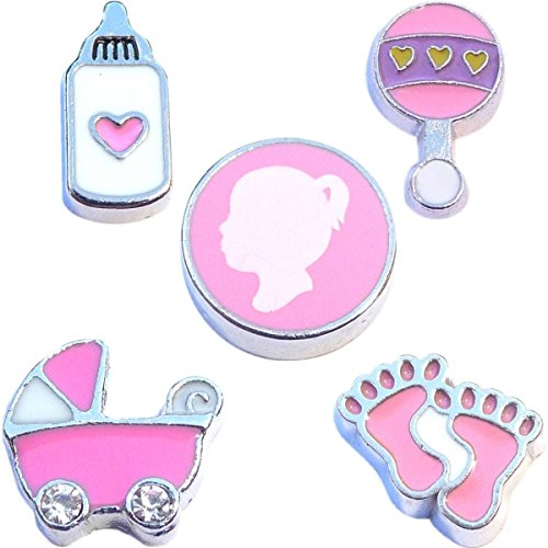 Baby Set Charms - Beautiful Baby Girl Charm Set for Floating Lockets Jewelry