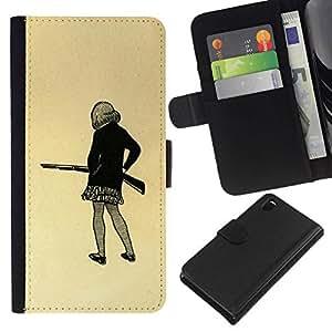 All Phone Most Case / Oferta Especial Cáscara Funda de cuero Monedero Cubierta de proteccion Caso / Wallet Case for Sony Xperia Z3 D6603 // Girl Gun Drawing Art Mini Skirt Pencil Shoot