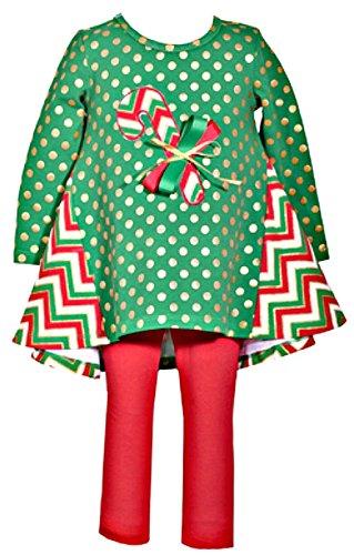 Girls Adorable Candy Cane Chevron Dot Legging Set - Cane Christmas Candy Dot Green