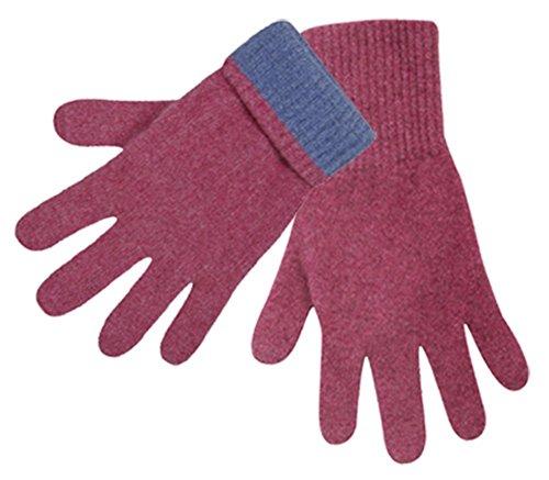 Possum Merino 2-Tone Gloves Raspberry Medium