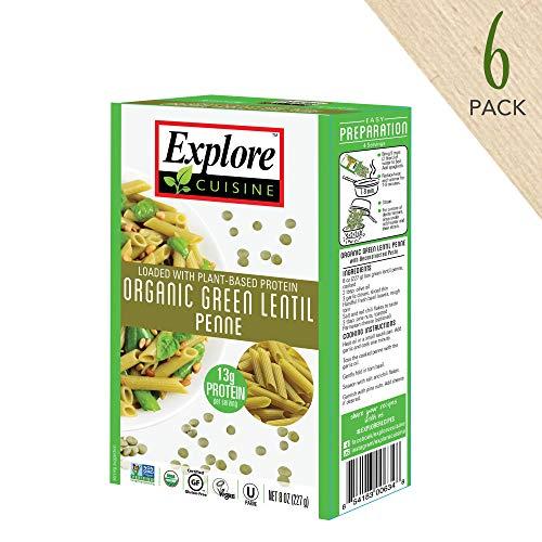 Explore Cuisine Organic Green Lentil Penne (6 Pack) - 8 oz - High Protein, Gluten Free Pasta, Easy to Make - USDA Certified Organic, Vegan, Kosher, Non GMO - 24 Total Servings