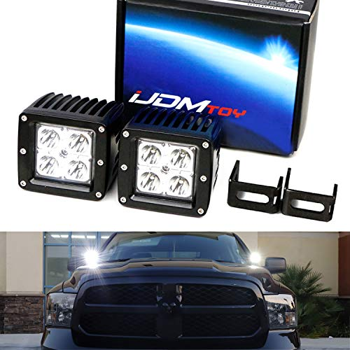 (iJDMTOY A-Pillar LED Pod Light Kit For 2009-up Dodge RAM 1500 2500 3500, Includes (2) 20W High Power CREE LED Pod Lamps, Windshield A-Pillar Mounting Brackets & Switch Wiring Relay)