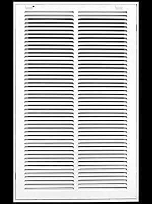 """14"""" X 25 Steel Return Air Filter Grille for 1"""" Filter - Removable Face/Door - HVAC DUCT COVER - Flat Stamped Face - White [Outer Dimensions: 16.5""""w X 27.5""""h]"""