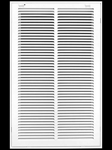 """14"""" X 24 Steel Return Air Filter Grille for 1"""" Filter - Removable Face/Door - HVAC Duct Cover - Flat Stamped Face - White [Outer Dimensions: 16.5 X 25.75]"""