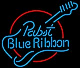 New Pabst Blue Ribbon Guitar Real Glass Beer Bar Pub Party Decor Neon Signs 19x15