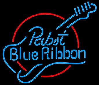 Pabst Blue Ribbon Guitar Real Glass Tube Neon Light Sign #2: 51ZLKckkIxL SX342 QL70