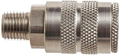 "Dixon Valve 2FM2-S Stainless Steel 303 Manual Industrial Interchange Pneumatic Fitting, Socket, 1/4"" Coupler x 1/4"" - 18 NPTF Male Thread"