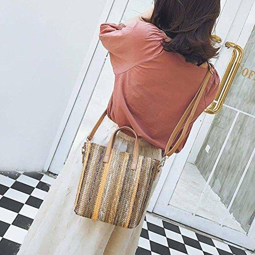 Messenger sac Plage Rotin Sac Femme fourre Sac Main Bandoulière Demiawaking Sac été à Osier Retro tout épaule Course de Shopping Paille Blanc qUn4x0