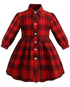 ZANDZ Little Girls Cotton Sleeveless Button Pocket Plaid Casual Summer Dress(A-Red,5T-6T)