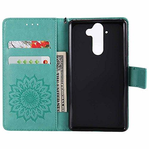 Nokia 9 Hülle, Dfly Premium Slim PU Leder Mandala Blume prägung Muster Flip Handyhülle Standfunktion Kartenfach Brieftasche Schutzhülle Case für Nokia 9, Grün Grün