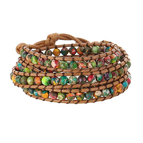 IUNIQUEEN Women Handmade Natural Stone Beads Multilayers Wrap Statement Bracelet with Stainless Steel Snap Button (Colorful Imperial Jasper) ()