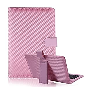 "HDE Diamond Stitch Hard Leather Folding Folio Case Cover with Micro USB Keyboard for 7"" Tablet (Pink)"